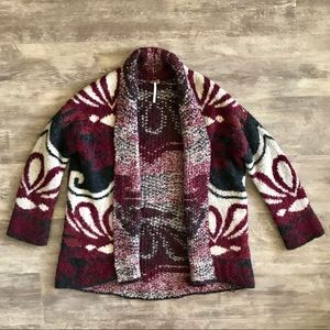 Free People XS Red Thick Wool Sweater Cardigan